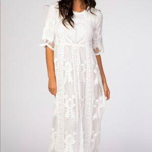 Orange Creek White Lace Overlay Dress